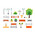 cartoon color urban park elements set vector image