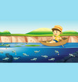 a boy on a boat in river vector image