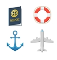 Airplane Anchor Lifebuoy Passport vector image vector image