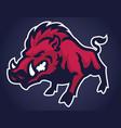 angry wild hog mascot vector image vector image