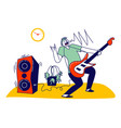 artist male character playing amp at night in vector image vector image