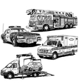 Autos drawings set vector image vector image