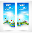 beautiful nature background with easter egg vector image vector image