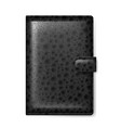 black leather wallet on white background vector image vector image