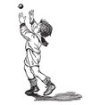 boy playing with ball vintage vector image vector image