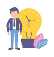 businessmen and bulb creativity vector image vector image
