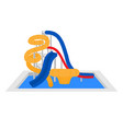 cartoon family water park with slides and pool vector image vector image