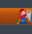 cartoon man with paint roller paints a brick wall vector image