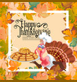 cartoon thanksgiving turkey character holding pie vector image vector image