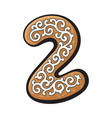 christmas gingerbread cookie - two 2 number vector image vector image