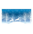 christmas with winter forest and rein vector image vector image