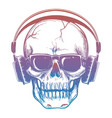 colorful sketch of skull and headphones vector image vector image
