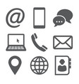 contact icons on white background vector image vector image