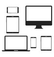 device screen icon set phone and computer display vector image