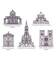 european church and cathedral buildings line set vector image vector image