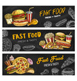 fast food menu pizza burgers and fastfood snacks vector image vector image