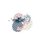 fish sea water circles japanese chinese design vector image