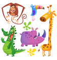 funny cartoon african savanna animals set vector image