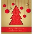 gold and red christmas postcard vector image
