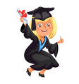 happy smiling girl in gown with diploma throwing vector image vector image