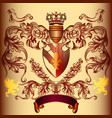 heraldic design with coat arms and crown vector image vector image