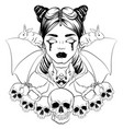 in hand drawn realistic style with skull and bat vector image vector image