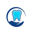 Logo Dental circle hands Healthy Care Tooth vector image
