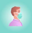 man wearing protective mask against corona virus vector image