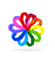 multi-colored flower head symbol vector image vector image