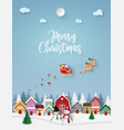 origami paper art santa claus coming to town vector image vector image