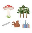pine poisonous mushroom tree squirrel saw vector image