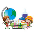 schoolgirls with globe and books vector image