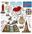 Set iceland symbols in vintage style