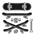 skateboard parts set objects or elements vector image vector image