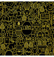 Thin Line Gold Black Happy Easter Seamless Pattern vector image vector image