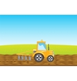 Tractor plows land in field vector image