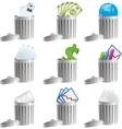 Trash bins with business signs vector image vector image