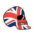uk skull head of skeleton and british flag fan vector image vector image