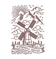 windmill line vector image vector image