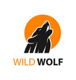 wolf logo design and moon circle vector image vector image