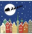 Santa Claus with reindeer sleigh vector image