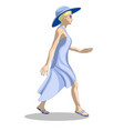 a girl in a summer dress and hat is walking vector image