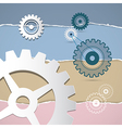 Abstract Retro Cogs Gears on Torn Paper Background vector image vector image