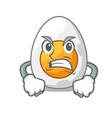 angry peeled boiled egg on mascot cartoon vector image vector image