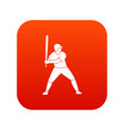 baseball player with bat icon digital red vector image vector image