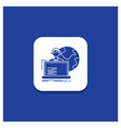 blue round button for outsource outsourcing vector image vector image