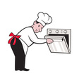 Cartoon Chef Baker Cook Opening Oven vector image vector image