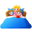 cartoon mother reading bedtime story to her child vector image vector image