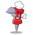 chef red pin character cartoon vector image vector image