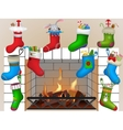 Christmas socks by the fireplace vector image vector image